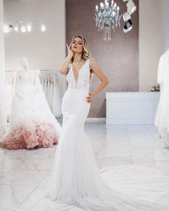 свадебные платья силуэт русалка